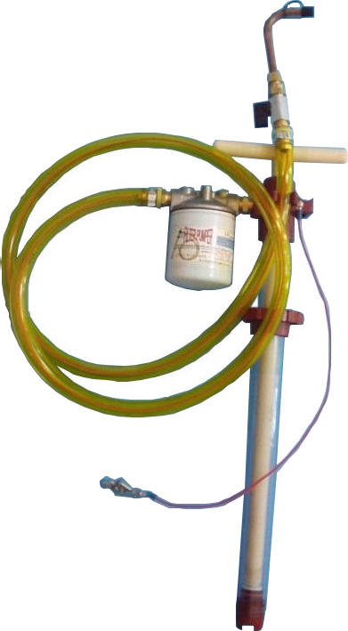 Static Dissipating Five Gallon Bucket Filter Pumper with a filter, six foot static dissipating hose, soldered brass fittings, and A10 accessory